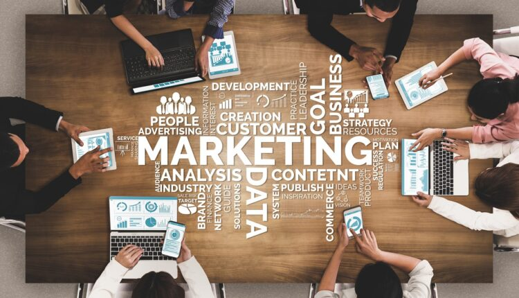 Digital Marketing Technology Solution for Online Business Concept – Graphic interface showing analytic diagram of online market promotion strategy on digital advertising platform via social media.